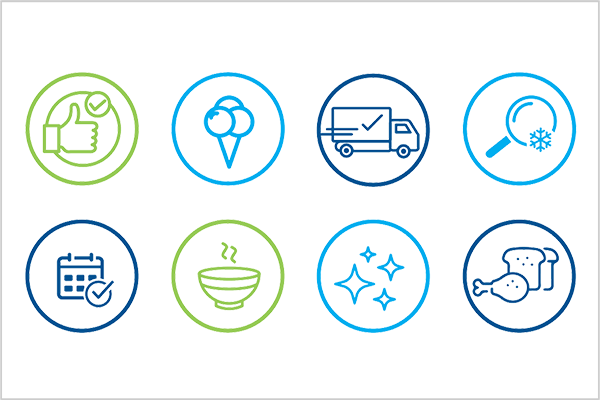 icons showing food safety compliance